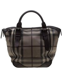 Burberry Dark Brown Smoked Check Pvc And Leather Satchel
