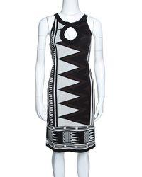 Diane von Furstenberg Monochrome Aztec Patterned Knit Sleeveless Dress - Black