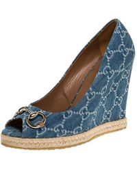 Gucci Blue GG Denim Charlotte Horsebit Peep Toe Wedge Court Shoes