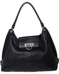 Ferragamo Black Leather Sofia Hobo