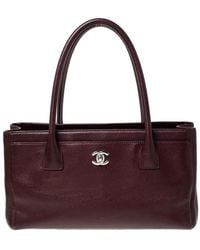 Chanel Burgundy Leather Cerf Shopping Tote - Multicolour