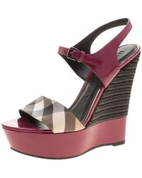 Burberry - Magenta Patent Leather And Canvas Espadrille Platform Wedge Sandals - Lyst