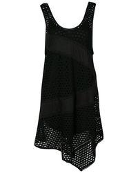 Marc By Marc Jacobs Black Eyelet Jersey Asymmetric Sleeveless Yuki Dress