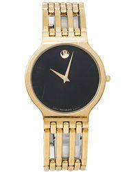 Movado Black Gold Plated Stainless Steel Esperanza Wristwatch