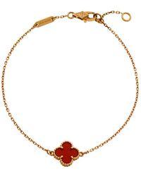 Van Cleef & Arpels Sweet Alhambra Carnelian 18k Rose Gold Bracelet - Metallic
