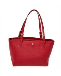 Tory Burch Red Leather Medium York Buckle Tote