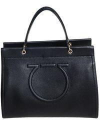 Ferragamo Black Grained Leather Medium Meera Tote