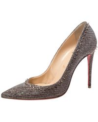 Christian Louboutin Silver/brown Lame Fabric Anjalina Pointed Toe Pumps