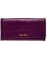Miu Miu Purple Croc Embossed Patent Leather Flap Continental Wallet