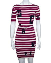 Chanel Fuschia Striped Rib Knit Varsity Logo Detail Belted Dress - Purple