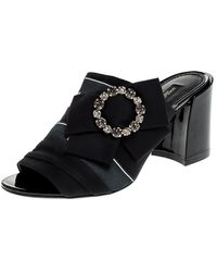 Dolce & Gabbana - Black Satin Crystal Embellished Bow Mules - Lyst