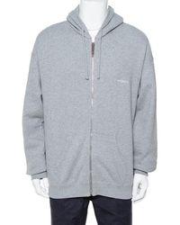 Vetements Grey Cotton Elbow Cutout Detail Zip Front Hoodie