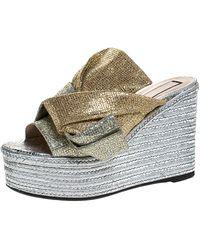 N°21 Silver/gold Glitter Fabric Raso Knot Espadrille Platform Wedge Sandals - Metallic