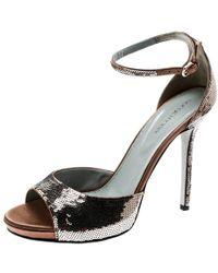 Sergio Rossi - Brown Sequin Embellished Ankle Strap Platform Sandals Size 39.5 - Lyst