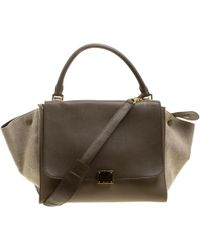 Céline - /taupe Leather And Canvas Medium Trapeze Tote - Lyst