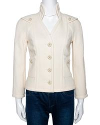 Chanel Cream Wool Button Front Jacket - Natural
