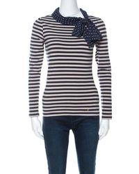 Carolina Herrera Ch Blue And Beige Striped Cotton Jersey Necktie Detail Top