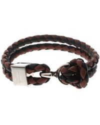 Burberry - Brown & Black Braided Leather Silver Tone Bracelet 18cm - Lyst