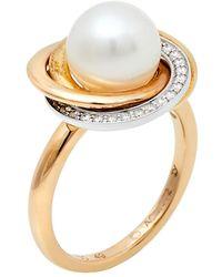Cartier Trinity Cultured Pearl Diamond 18k Three Tone Gold Ring 49 - Metallic