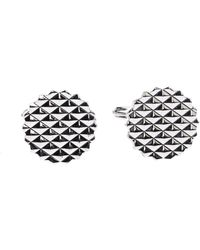 Lanvin Engraved Silver Plated Round T-bar Cufflinks - Metallic