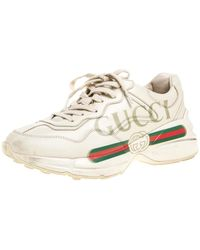 Gucci Light Beige Leather Rhyton Logo Low Top Trainers - Natural