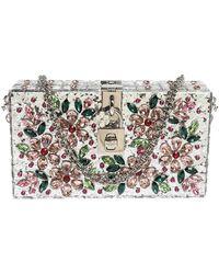 Dolce & Gabbana Silver Acrylic Crystal Embellished Box Locket Clutch Bag - Metallic
