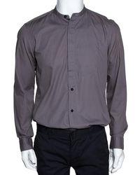 Givenchy Taupe Cotton Long Sleeve Mandarin Collar Shirt - Gray