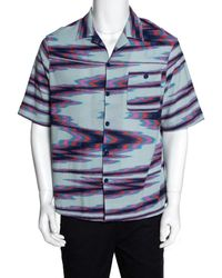 Missoni Limited Edition Multicolor Striped Knit Camp Collar Shirt S - Blue