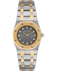 Audemars Piguet Gray Diamond 18k Yellow Gold And Stainless Steel Royal Oak Wristwatch 26 Mm
