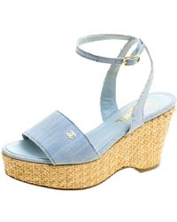 Chanel - Powder Canvas Cc Wedge Sandals - Lyst