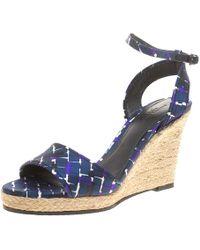 Bottega Veneta - Multicolor Satin Ankle Strap Espadrille Wedge Sandals 38 - Lyst