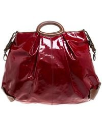 Marni Red/brown Patent Leather And Leather New Balloon Hobo