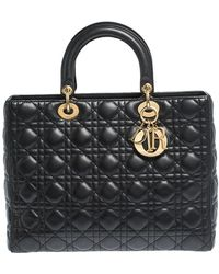 Dior Black Cannage Leather Large Lady Tote