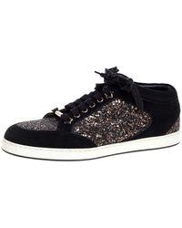 Jimmy Choo Black Glitter And Suede Miami Low Top Sneakers