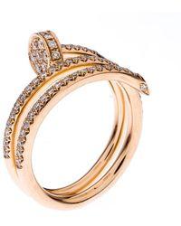 Cartier Juste Un Clou 18k Rose Gold Diamonds Band Ring Size 53 - Metallic