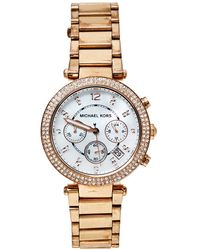 Michael Kors Mother Of Pearl Rose Gold Tone Stainless Steel Parker Mk5491 Wristwatch - White