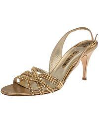 Gina Metallic Gold Leather Crystal Embellished Slingback Sandals