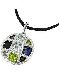 Cartier Pasha De 18k White Gold Diamond Multistone Pendant Necklace - Metallic