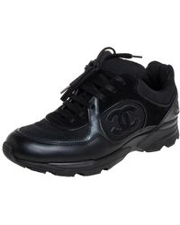 Chanel Black Mesh And Leather Cc Low Top Trainers