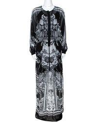 Roberto Cavalli Monochrome Floral Print Silk Kaftan Tunic - Black