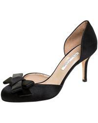Oscar de la Renta Black Satin Bow Heel Pumps