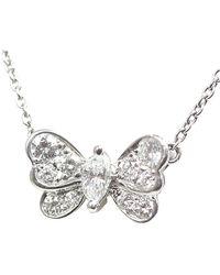 Tiffany & Co. Tiffany Butterfly Diamond Platinum Pendant Necklace - Metallic