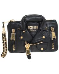 Moschino Black Leather Capsule Biker Jacket Wristlet Clutch