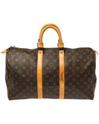 Louis Vuitton Monogram Canvas Keepall 45 Bag - Brown