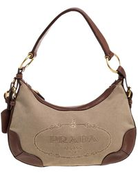 Prada Beige/tan Logo Jacquard Canvas And Leather Hobo - Natural