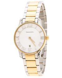 Tiffany & Co. Silver White Yellow Gold Plated Stainless Steel Atlas Women's Wristwatch 29 Mm - Metallic