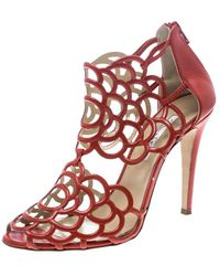 Oscar de la Renta Orange Leather Gladia Cutout Sandals - Red