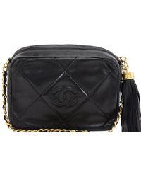 be2ef9d21de350 Chanel - Quilted Leather Vintage Cc Tassel Crossbody Bag - Lyst