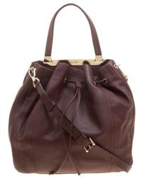 Lancel Burgundy Leather Drawstring Bucket Tote - Multicolor