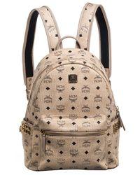 MCM Light Beige Visetos Leather Studded Stark Backpack - Natural